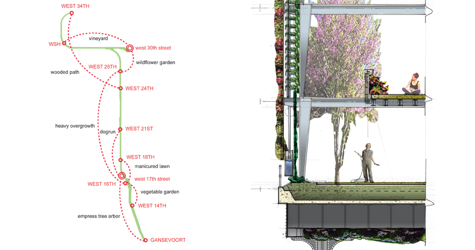High Line Garden Plan and Wall Section