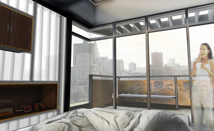 Modern Penthouse Bedroom and Balcony Rendering